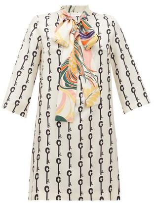 La Prestic Ouiston Park Avenue Pussy-bow Good Luck-print Silk Dress - Womens - White Black