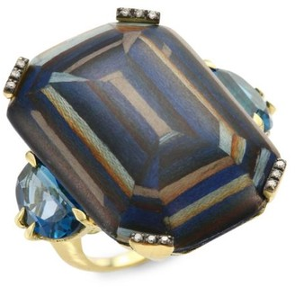 Silvia Furmanovich Marquetry Light Brown Diamonds, Blue Topaz & 18K Yellow Gold Ring