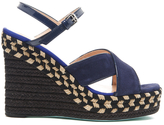 Paul Smith Women's Tatum Raffia Wedged Sandals Navy Kid