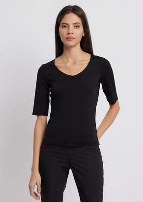 Emporio Armani Stretch Jersey Sweater With Three-Quarter Length Sleeves