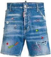 DSQUARED2 doodle print denim shorts