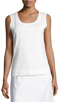 Lafayette 148 New York Scoop-Neck Sleeveless Cotton Tee, Plus Size