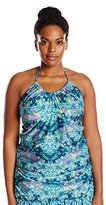 Kenneth Cole Reaction Women's Plus-Size Scarfs On Deck U-Neck Tankini