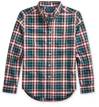 Ralph Lauren Boys' Plaid Poplin Button-Down Shirt - Big Kid