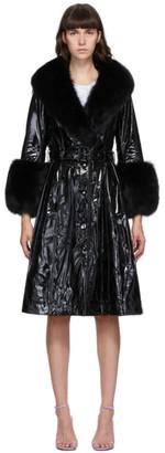 Saks Potts Black Patent Foxy Coat