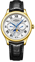 Rotary Gs05066/01 Moonphase Date Day Leather Strap Watch, Black/silver