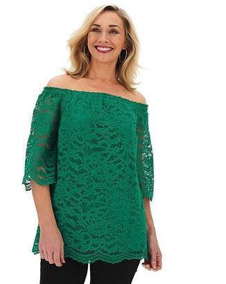 Bardot Capsule Green All Over Lace 3/4 Sleeve