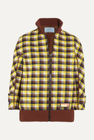 Prada Checked Jacquard-knit Bomber Jacket - Brown