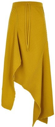 Marques Almeida Mustard draped merino wool midi skirt