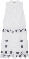 Suno Embroidered linen and cotton-blend mini dress
