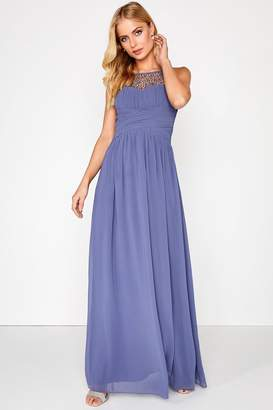 Little Mistress Grace Lavender Grey Embellished Neck Maxi Dress