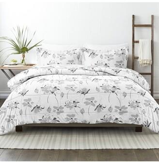 Home Collection Down Alt Magnolia Grey Patterned Comforter Set