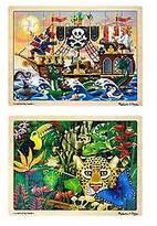 Melissa & Doug ; Deluxe Wooden 48- Piece Jigsaw Puzzle Bundle (2 Puzzles)