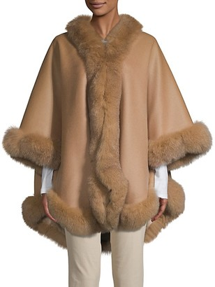 Wolfie Fur Made For Generation Fox Fur-Trim Cashmere Wool Blend Cape