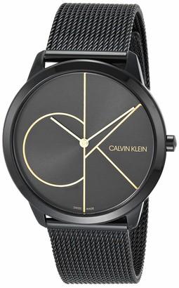 Calvin Klein Minimal Unisex Mesh Bracelet with Black Dial Logo Watch