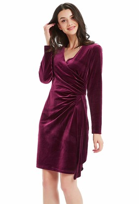 Basic Model Velvet Dresses for Women Long Sleeve Ruched Party Bodycon V Neck Wrap Dresses Knee Length