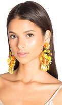 Mercedes Salazar Floral Tassel Earring in Yellow.