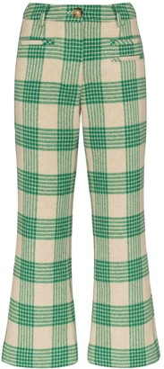 REJINA PYO Checked Kick Flared Trousers