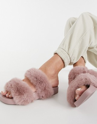 Simmi Shoes Simmi London Bobbie faux fur slides in dusty pink