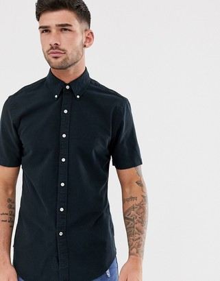 Polo Ralph Lauren short sleeve oxford shirt slim fit button down with tonal logo in black