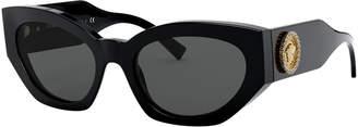 Versace Chunky Cat-Eye Sunglasses w/ Crystal Embellished Medusa Temples