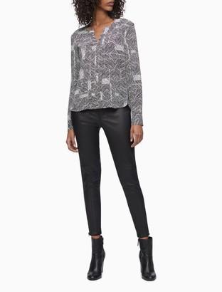 Calvin Klein Printed Bubble-Front Sleeveless Top