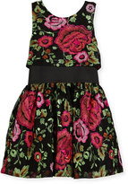 Zoë Ltd Valentine Elastic-Waist Rose-Print Dress, Size 4-6X