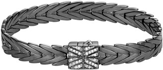 John Hardy Modern Chain Silver 8mm Rectangular Bracelet with Diamond Clasp