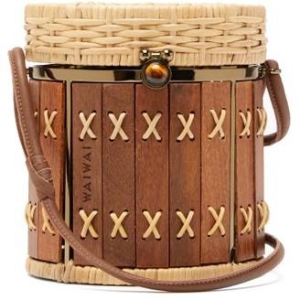 Wai Wai - Bongo Rattan And Wood Bag - Womens - Brown