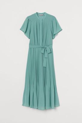 H&M Pleated Chiffon Dress - Turquoise