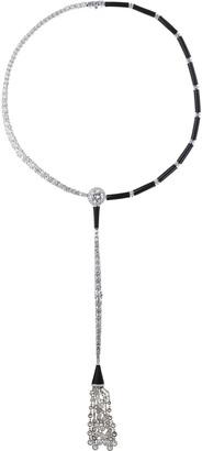 Nikos Koulis Oui 18k White Gold Black Enamel and Diamond Tassel Necklace