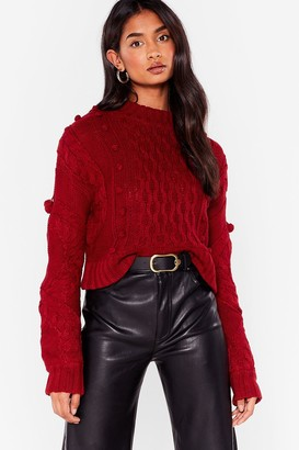 Nasty Gal Womens Pom Pom With the Wind Cable Knit Sweater - Burgundy