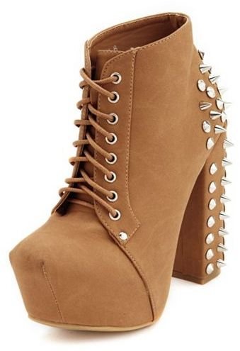Charlotte Russe Spike-Back Lace-Up Bootie
