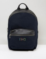 Paul Smith Canvas And Leather Backpack In Black With Multi Stitching