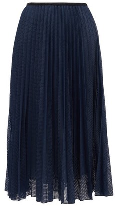 Moncler Perforated Mesh Pleated Midi Skirt - Navy