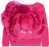 DELPOZO Cropped Fringed Raffia And Cotton Sweater - Fuchsia