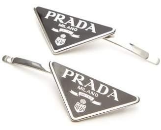 Prada Set Of Two Logo-plaque Hair Slides - Womens - Black