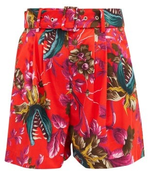MSGM Carnivorous Plant-print High-rise Cotton Shorts - Red Multi