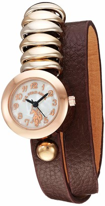 U.S. Polo Assn. Women's Stainless Steel Quartz Watch with Patent Leather Strap
