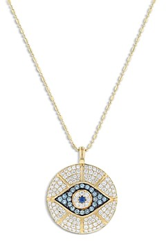 Bloomingdale's Multi Gemstone & Diamond Evil Eye Pendant Necklace in 14K Yellow Gold, 18 - 100% Exclusive