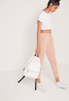 Missguided Lace Up Eyelet Side Joggers Nude