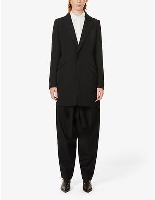 Y's Raw-trim long-line wool blazer