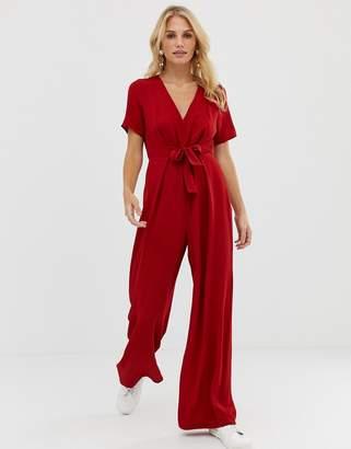 Asos Design DESIGN tie waist v neck open back jumpsuit-Red