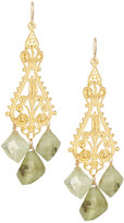 Devon Leigh Ornate Filigree Drop Earrings w/ Green Garnets