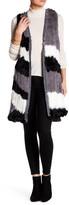 Catherine Malandrino Genuine Rabbit Fur & Cashmere Longline Vest