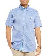 Daniel Cremieux Solid Textured Short-Sleeve Woven Shirt