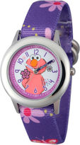 Sesame Street Girls Purple And Silvertone Elmo Flower Strap Watch W003184