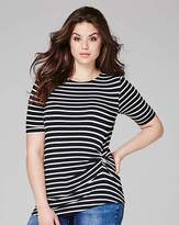 Fashion World Mono Stripe Twist Side Tshirt