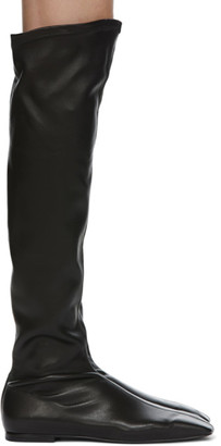 Low Classic Black Square Toe Long Boots