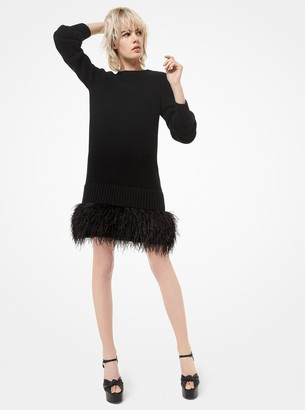 Michael Kors Feather-Embroidered Cashmere Dress